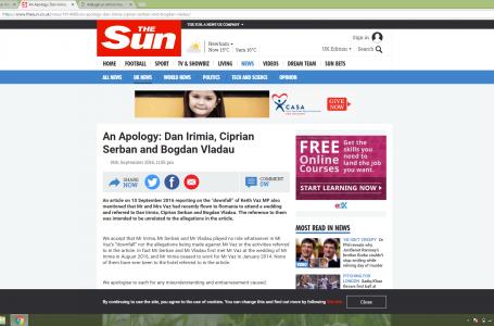 The Sun își cere scuze public față de Ciprian Șerban!