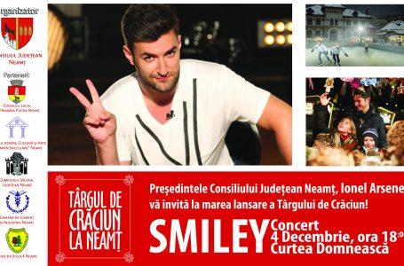 Smiley concertează la Târgul de Crăciun din Piatra Neamț! Zeci de surprize pregătite în toată luna decembrie! În mod ciudat, evenimentul este contestat de la … Roman!