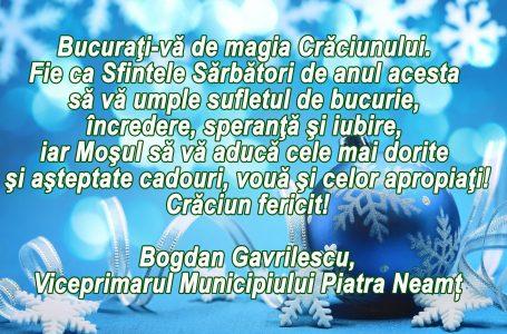 Mesajul viceprimarului Bogdan Gavrilescu cu prilejul sărbătorii Nașterii Domnului
