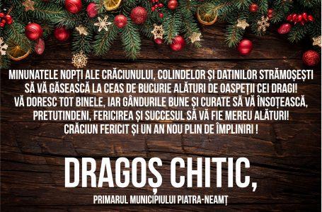Mesajul primarului Dragoș Chitic cu prilejul sărbătorii Nașterii Domnului