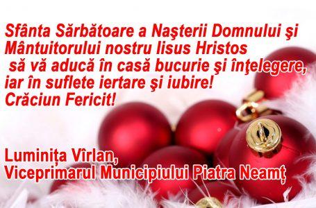 Mesajul viceprimarului Luminița Vîrlan cu prilejul sărbătorii Nașterii Domnului