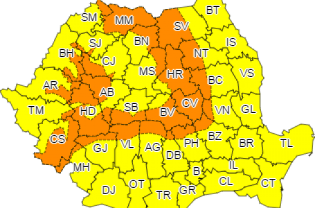 Coduri galben și portocaliu de ploi, ninsoare și viscol pentru județul Neamț