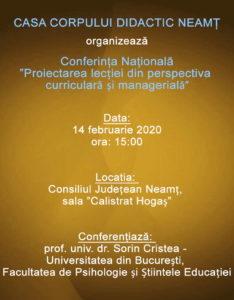 Conferinta proiectarea lectiei din perspectiva curriculara