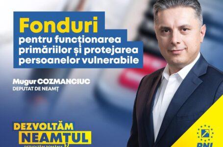 Mugur Cozmanciuc, președinte PNL Neamț: Bani de la Guvern pentru funcționarea primăriilor din județ și protejarea persoanelor vulnerabile