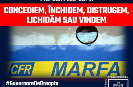 """Ciprian Şerban: """"Actuala guvernare desfiinţează CFR Marfă. Deviza coaliţiei – concediem, lichidăm, vindem!"""""""