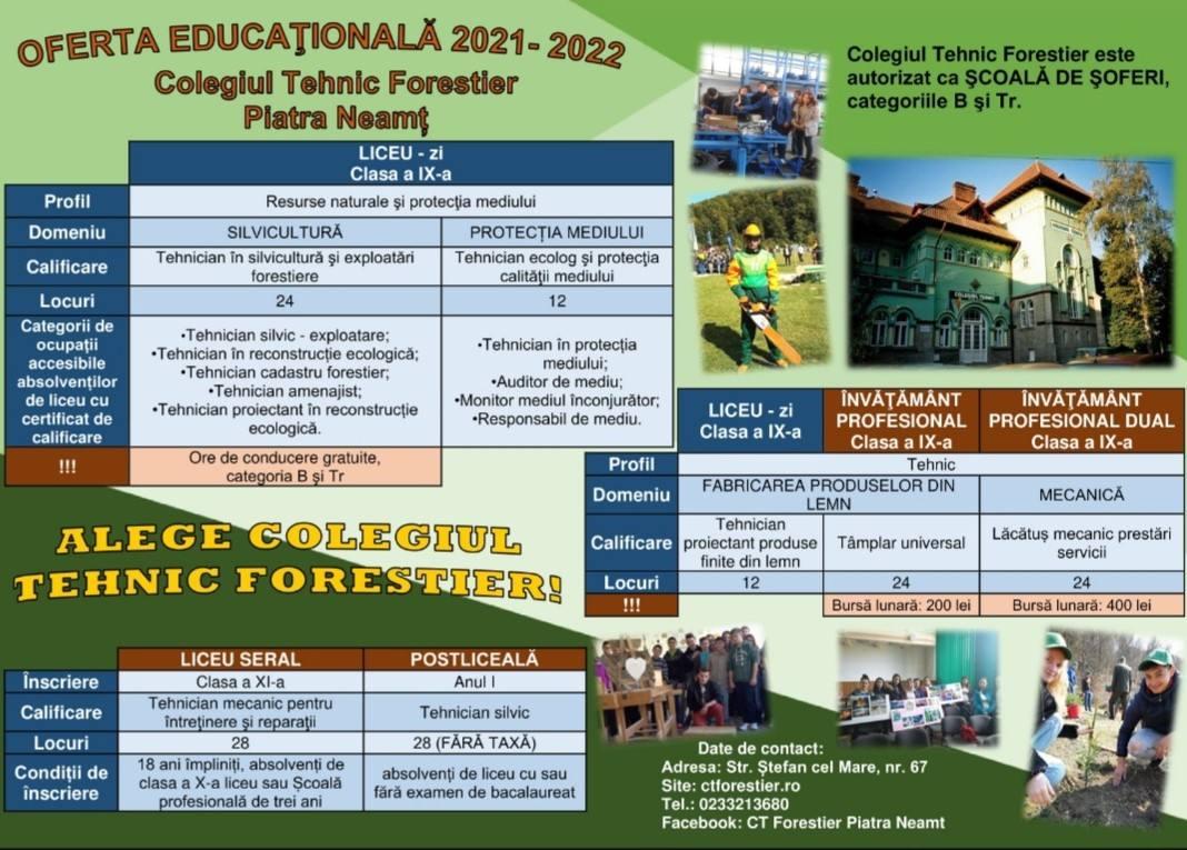 oferta educationala colegiul tehnic forestier