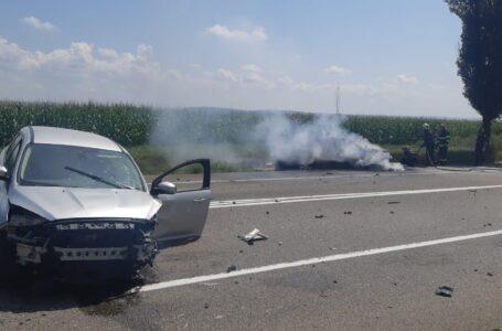 Şofer din Neamţ, implicat într-un accident pe E85, la Bacău, urmat de incendiu